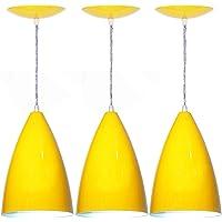 Kit 03 Lustres Pendente Balcão Cozinha Americana - Amarela