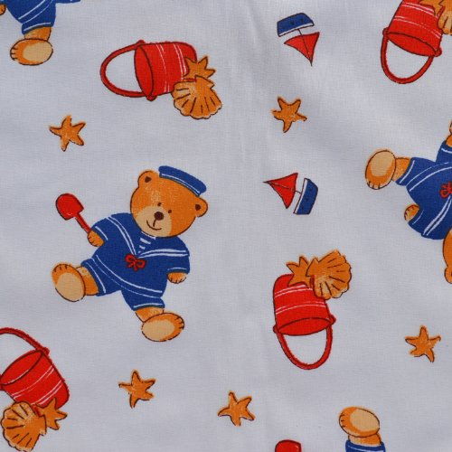 Sailor Teddies Hit the Beach Fabric | 100% Cotton Designer Print | 61 Inches (155cm) Wide | By the Yard (Teddies Cotton Print)