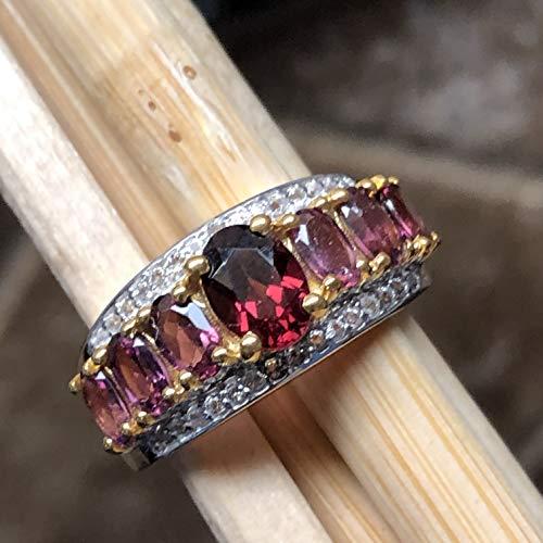 (Estate Natural 2.5ct Raspberry Rhodolite Garnet, White Topaz 14K Yellow Gold Vermeil Sterling Silver Ring sz 6, 7, 8, 9 )