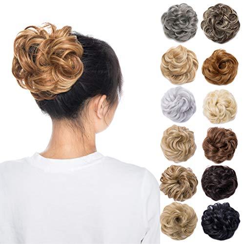 Scrunchy Updo Wavy Straight Hair Bun Clip Messy Donut Chignons Synthetic Hairpiece Hair Extension (light auburn & dark blonde)]()