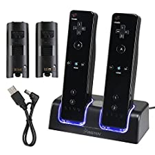 Dual Charging Station w/ 2 Rechargeable Batteries & LED Light for Wii Remote Control, Black