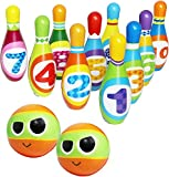Kiddie Play Bowling Set for Kids 10 Foam Bowling Pins and 2 Balls