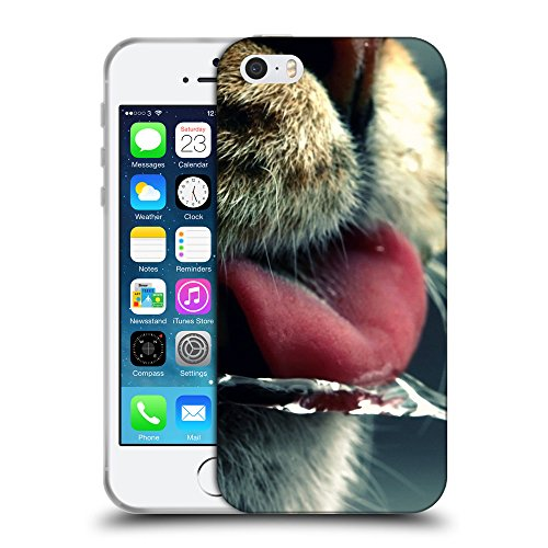 Just Phone Cases Coque de Protection TPU Silicone Case pour // V00004193 chat lèche icicle // Apple iPhone 5 5S 5G SE