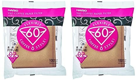 Hario V60 Disposable Paper Coffee Filters, Tabbed, Natural, 200 Count