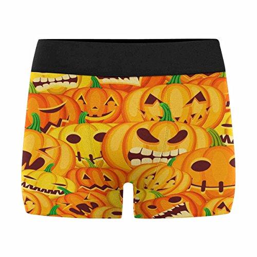 INTERESTPRINT Mens Boxer Briefs Underwear Halloween Orange Pattern with Jack O Lantern Pumpkins XXXL