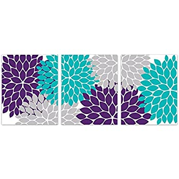 Home Decor Wall Art Purple Teal and Grey Flower Burst Art Prints - HOME161  sc 1 st  Amazon.com & Amazon.com: Home Decor Wall Art Purple Teal and Grey Flower Burst ...