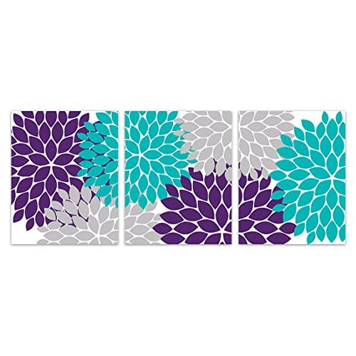 Items Similar To Teal Purple Abstract Flowers Wall Decor: Teal And Purple Decor: Amazon.com