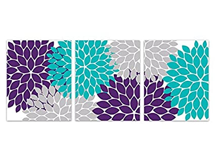 Amazoncom Home Decor Wall Art Purple Teal And Grey Flower Burst