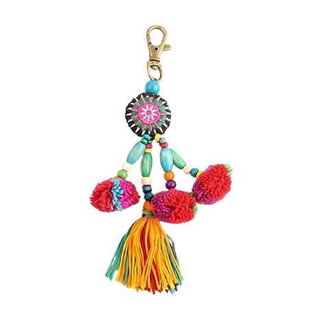 Nowbetter Llavero de Borla con diseño de Flecos y Perlas de Rosca, Adornos para Mujeres y niñas
