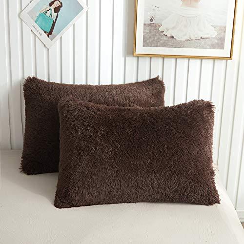 XeGe Faux Fur Throw Pillow Cases Plush Shaggy Ultra Soft Pillow Cover Fluffy Crystal Velvet Decorative Pillowcases Zipper Closure,Set of 2(King,Coffee) (Shams Faux Fur)