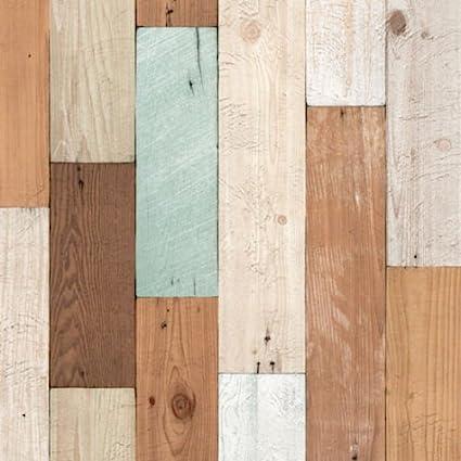 Amazon Com Ponml Rustic Wood Panel Self Adhesive Wallpaper Scrap