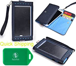 UNIVERSAL TWO-TONED WALLET/PHONE HOLDER W/FRONT VIEW WINDOW IN BLUE FOR Lenovo Vibe X S960