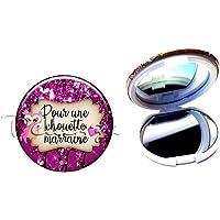 Miroir de poche compact, pour une chouette marraine, hiboux, plaisir d'offrir, cadeaux personnalisés