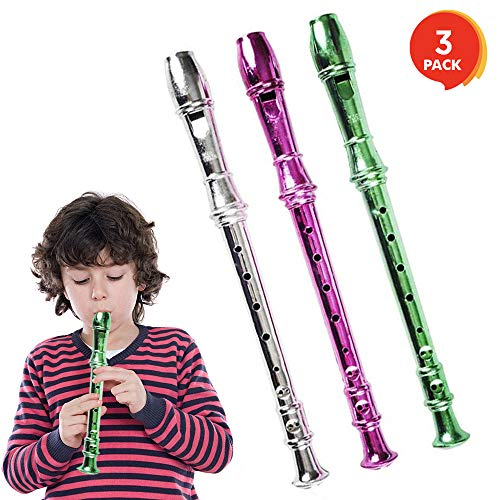 ArtCreativity 13 Inch Metallic Flutes - Set of 3 - Plastic Musical Instrument for Kids - Metallic Colors - Durable Music Toys for Toddlers, Boys, Girls - Fun Gift and Birthday Party Favor for Children (Bulk Plastic Flutes Instrument)