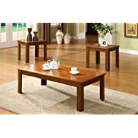 3 Pc. Occasional Table Set in Medium Oak by Furniture of America