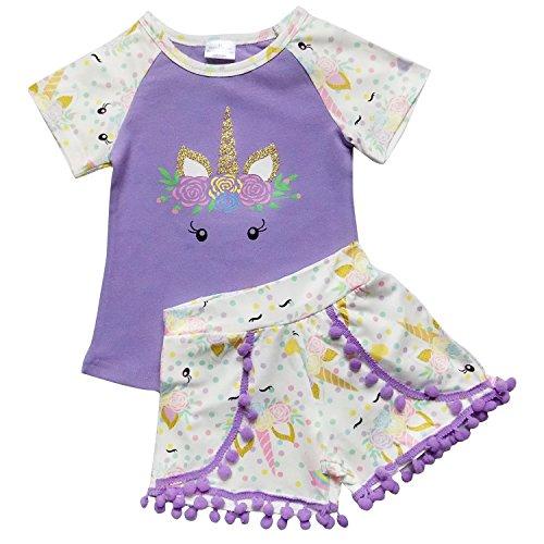 Peek A-boo Back Top - So Sydney Girls Toddler Pom Pom Novelty Summer Pool Beach Vacation Shorts Outfit (XS (2T), Peek-a-Boo Unicorn Purple)