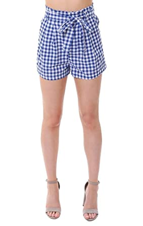 b6754aae58a1 She + Sky Shorts Blue Gingham Check Paper Bag Tie High Waisted Summer - S