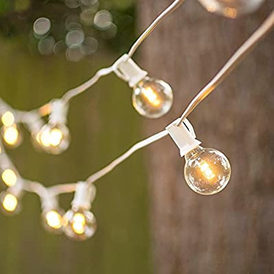 LED Globe String Lights, G40 Bulb 25 Ft White C7 Strand, Warm White