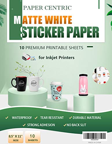 Paper Centric, Matte White Sticker Paper - Waterproof - 10 Sheets Printable Vinyl- for Inkjet Printers