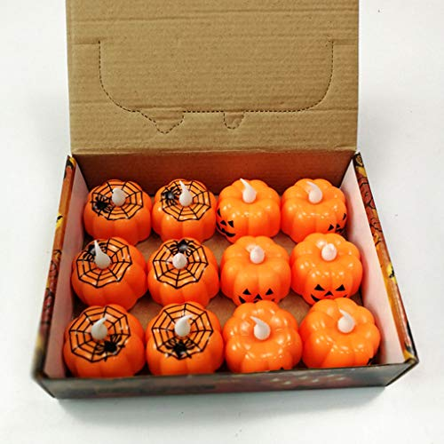 Halloween Decorations Candles Tea Lights, Battery Operated, Flickering Flameless (12PCS) by Friendship Shop (Image #4)