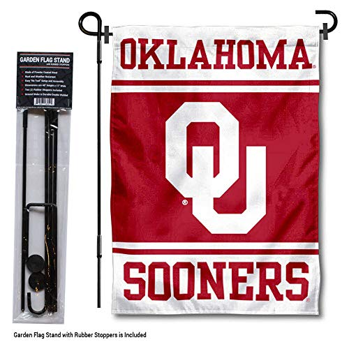 College Flags and Banners Co. Oklahoma Sooners Garden Flag with Stand Holder