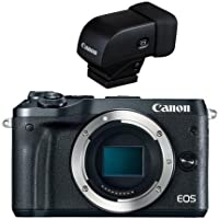 Canon EOS M6 24MP Mirrorless Digital Camera (Body Only), Full HD Video, Black - With Canon EVF-DC1 Electronic Viewfinder