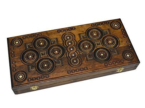 Exlusive Handmade Backgammon Set. 17.7 X 16.5 Inch. Inlaid with Copper. Board Game. Walnut Wood