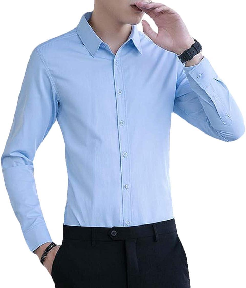 SELX Men Skinny Casual Button Down Long Sleeve Pure Colour Dress Shirt