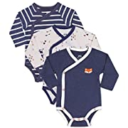 Baby Boy 3-Piece Long-Sleeve Kimono Onesie, Size Newborn 0-3 Month, Gift Boy Bundle Includes Blue Fox Onesie, Arrow Bodysuit and Navy-Stripes Infant Boy Outfits.