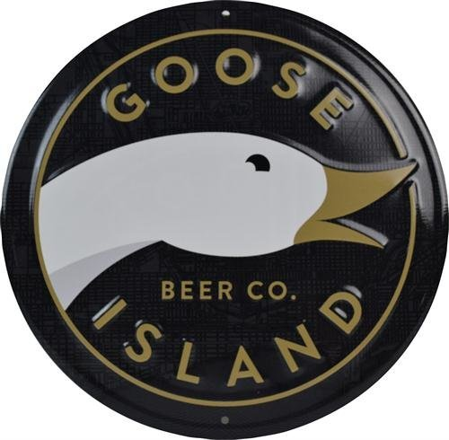 Goose Island Beer Co. - Round Logo Tin Tacker/Bar - Island Goose Ale