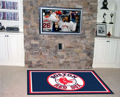 MLB Boston Red Sox Baseball 4x6 Large Accent Area Floor Rug