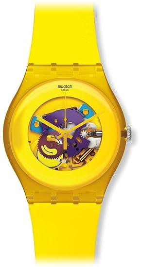 Swatch SUOJ100 - Reloj analógico de cuarzo para niña con correa de plástico, color amarillo: Amazon.es: Relojes