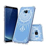 galaxy s1 cover - SAWE Galaxy S8 Case - Clear Crystal Shockproof Hard PC+ TPU Bumper Slim Case Cover for Samsung Galaxy S8 with [White Henna Mandala Floral Lace Design] (2017) (S1-001)