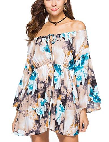 Blue Ruffles Sundress - Ailunsnika Women Summer Sexy Off The Shoulder Mini Dress Blue Floral Print Ruffle Sleeve A Line Swing Short Sundress XX-Large