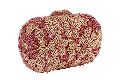 Yilongsheng Las mujeres que deslumbra los bolsos de embrague con las hojas de cristal de flores(rosa)