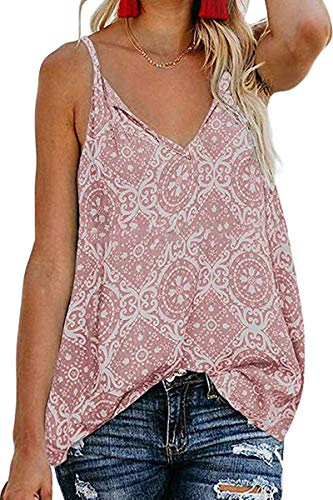 - Infinilla Women's Loose V Neck Sleeveless Strappy Tank Top Summer Casual Floral Button Down Shirts Blouses Vintage-Pink