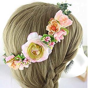 Vintage Wedding Bridal Artificial Flowers Berries Rattan Crown Floral Halo Headpiece Pretty Decorative Flower Girl Hair Accessories Headdress Headbands Crowns Head Wreath Garland Orange Tone 75