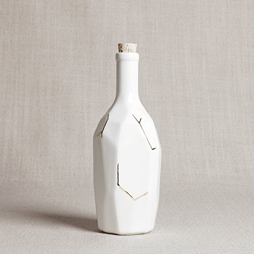 White Faceted Bottle with Gold Details - Faceted Bottle