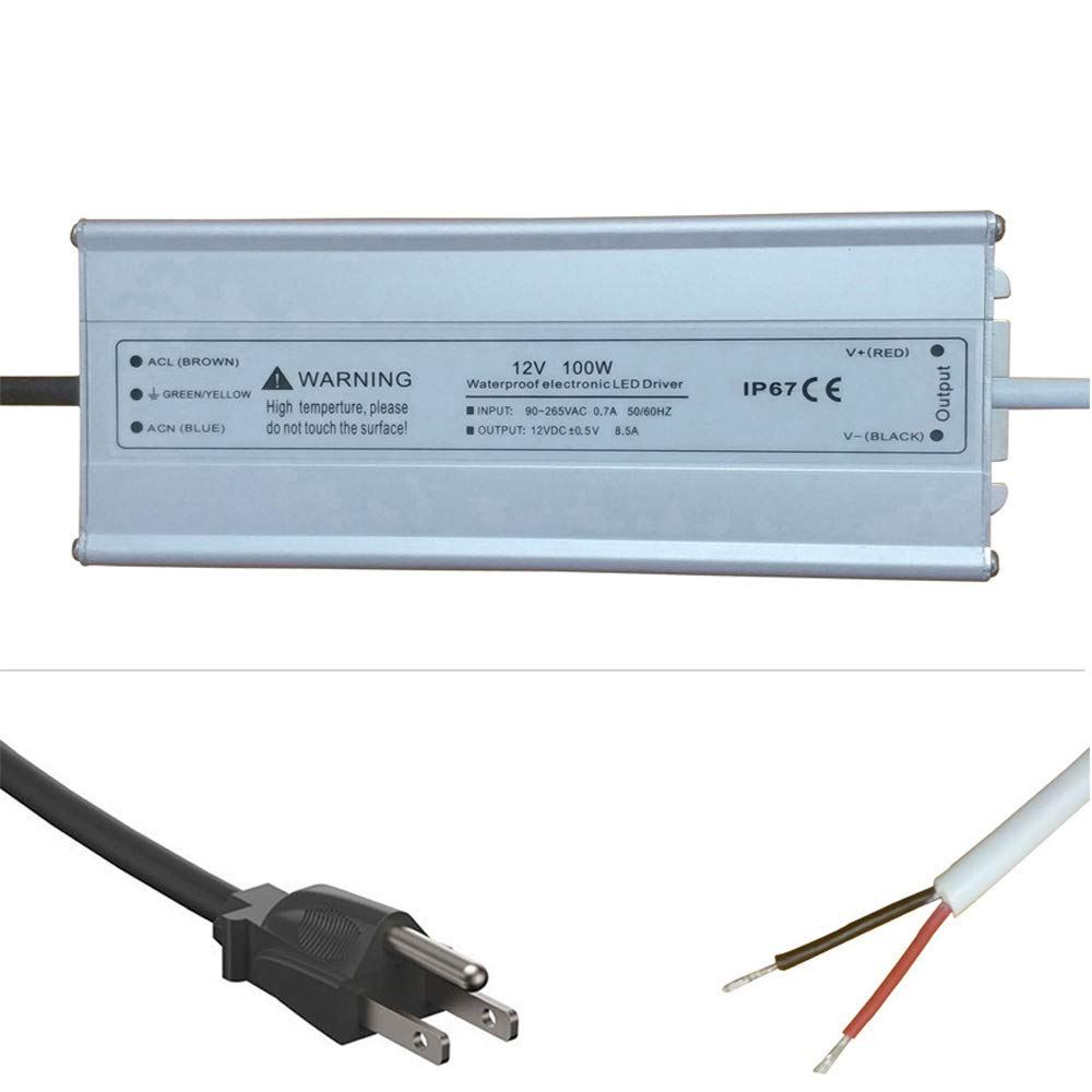 100W LED Power Suppply 12 Volt DC Waterpoof IP67 Driver Transformer with 3-Prong Plug