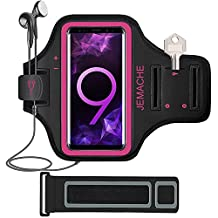 Galaxy S9/S8/S7 Edge Armband, JEMACHE Gym Sports Run Workout Arm Band for Samsung Galaxy S9/S8/S7 Edge with Key/Card Holder & Extender (Rosy)