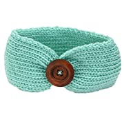 DaySeventh Baby Knitting Infant Kids Girl Button Headbands Head Wrap Knotted Hair Band (Green)