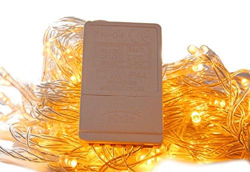 100er LED Lichterkette Warmweiß Innen für Weihnachten Hochzeit Zimmer Beleuchtung 220V-8 Funktiontypen-Memory-Verlängerbar (warmweiß)