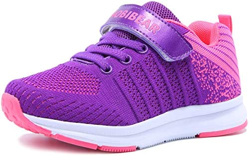 Mitudidi Turnschuhe Mädchen Schuhe 34 Sportschuhe Laufschuhe Hallenschuhe Leicht Atmungsaktiv Outdoor Fitnessschuhe Sneaker Lila Kinderschuhe für Unisex-Kinder