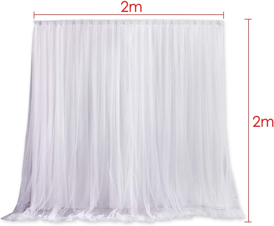 DS.DISTINCTIVE STYLE 6.5ft x 6.5ft Tulle Photography Backdrop Curtains Wedding Party Backdrops Photo Background Decoration for Studio//Birthday//Baby Shower//Christmas//Prom White