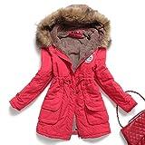 Mintsnow Womens Hooded Warm Winter Coats Faux Fur Lined Parkas Black Pink Green Blue Red