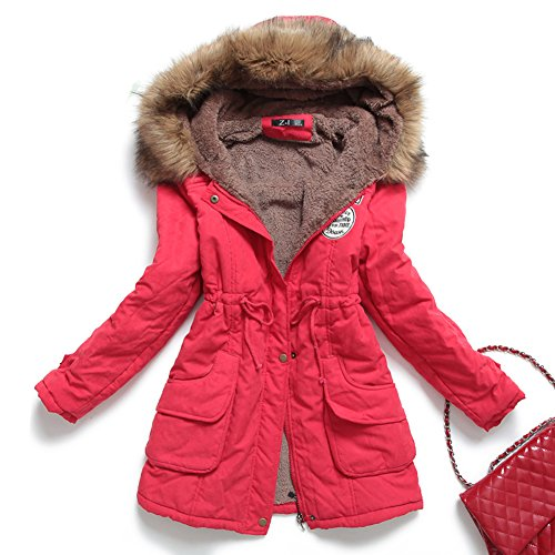 Mintsnow Womens Hooded Warm Winter Coats Faux Fur Lined Parkas Black Pink Green Blue Red