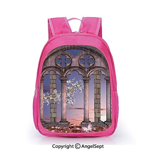 - Children Schoolbag Cute Animal Cartoon Custom,Ancient Colonnade in Secret Garden with Flowers at Sunset Enchanted Forest Grey Blue Lilac Red,15.7inch,Fashion Lightweight School Backpack