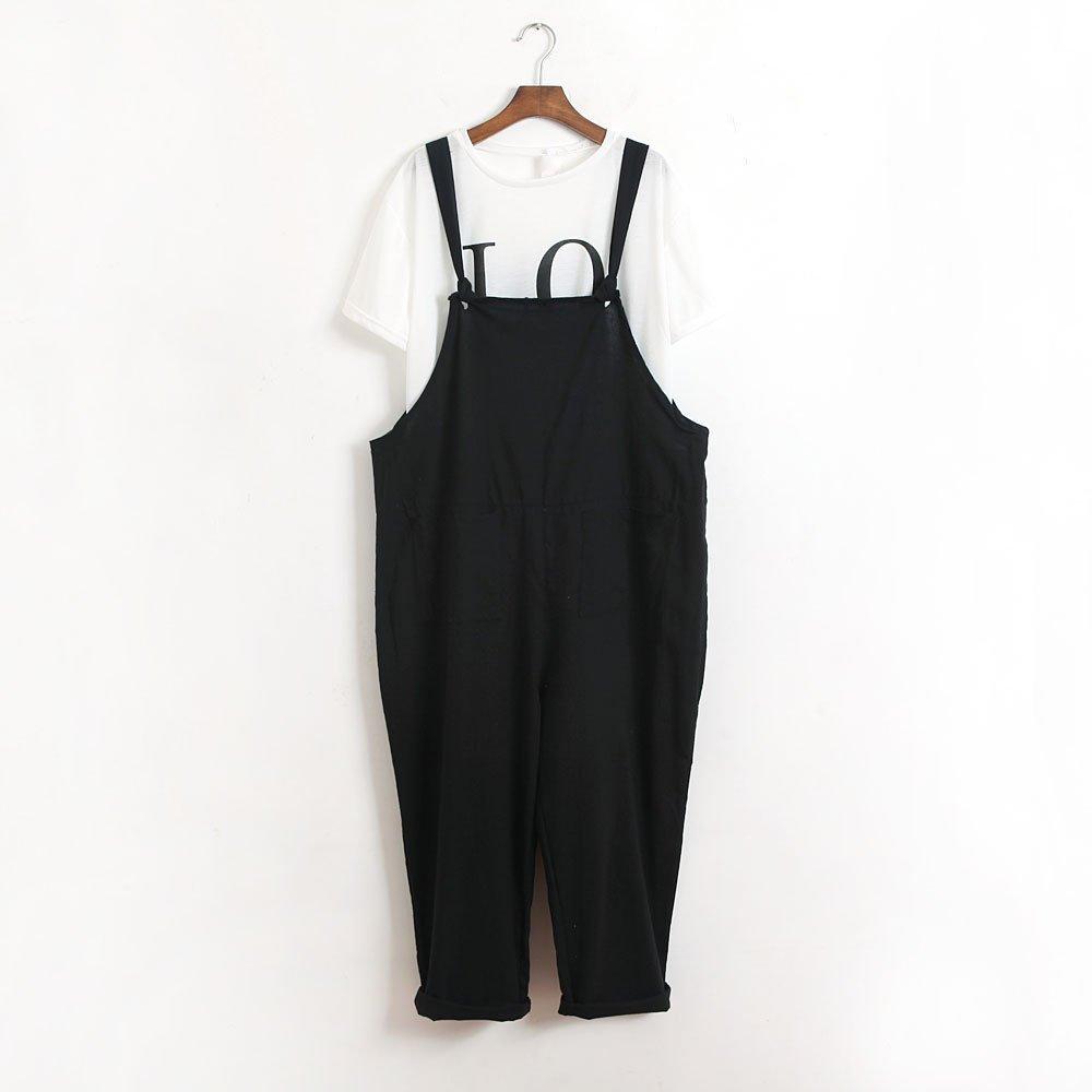 ZEFOTIM Womens Loose Jumpsuit Strap Belt Bib Pants Trousers Casual Overall Pants (XL,Black) by ZEFOTIM (Image #3)