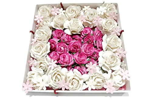 (N.21) 35 pcs Mixed Pink & White 2 Colors Rose &Daisy TinyMulberry Paper Flower 20-40 mm Scrapbooking Wedding