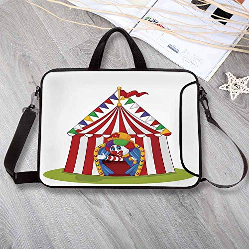 """Circus Decor Printing Neoprene Laptop Bag,Illustration of Cartoon Clown Come Out from Circus Tent Smile Joker Enjoy Laptop Bag for 10 Inch to 17 Inch Laptop,14.6""""L x 10.6""""W x 0.8""""H - Virginia Tent"""